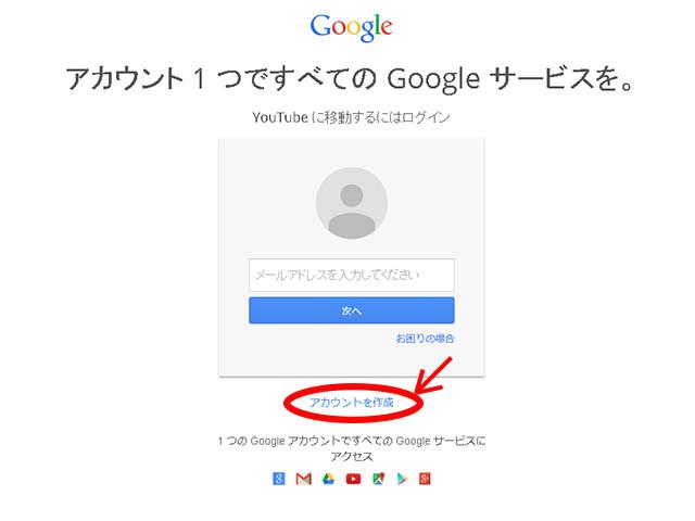 Googleアカウントへのログイン画面
