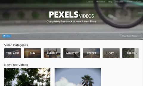 Pexels Videosトップページ